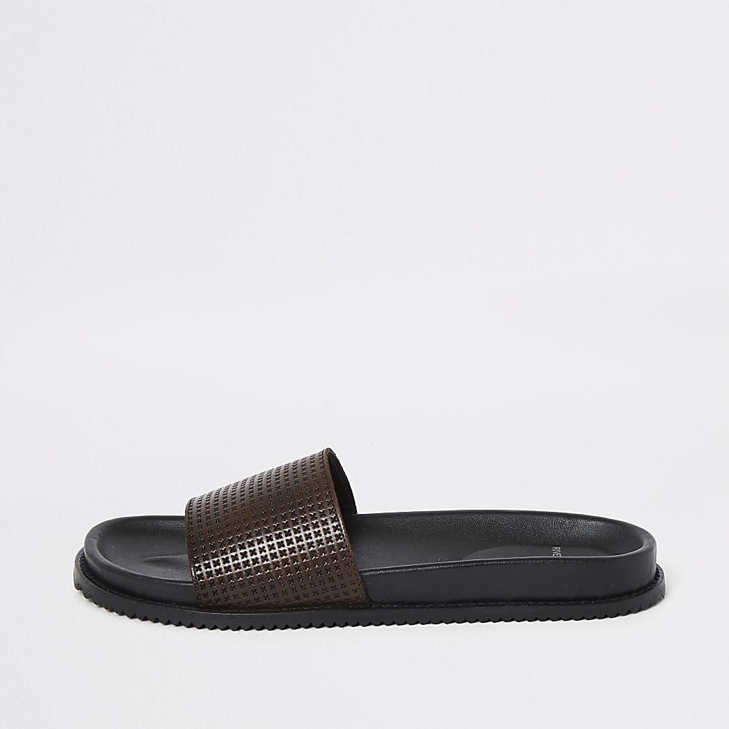 Bruine leren slippers