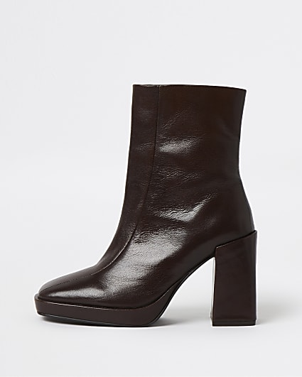 Brown leather square toe platform boots