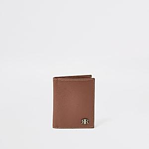 Portefeuille RIR en cuir texturé marron