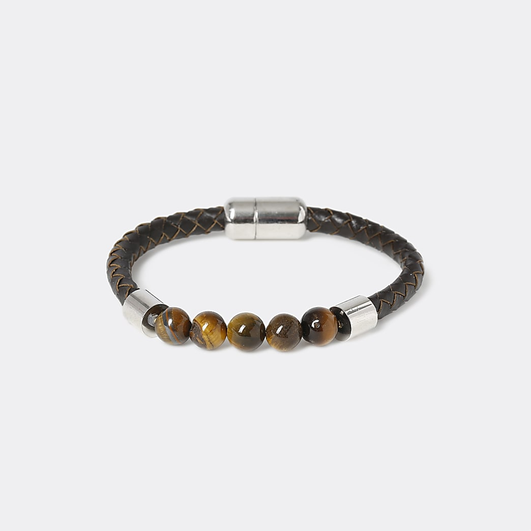 Brown leather tiger bead wristband