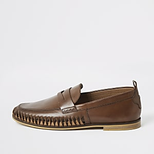 Brown leather woven loafers