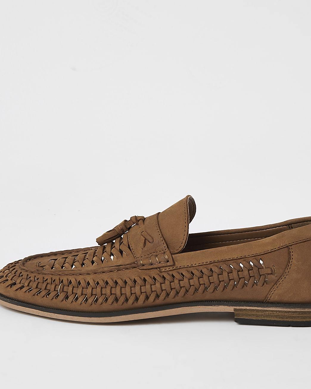 Brown leather woven tassel loafers