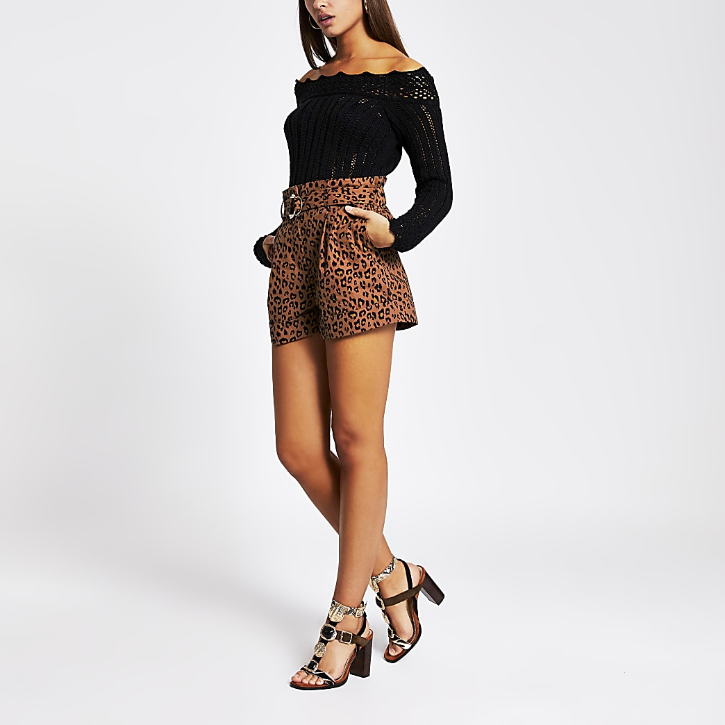 Brown leopard print belted shorts