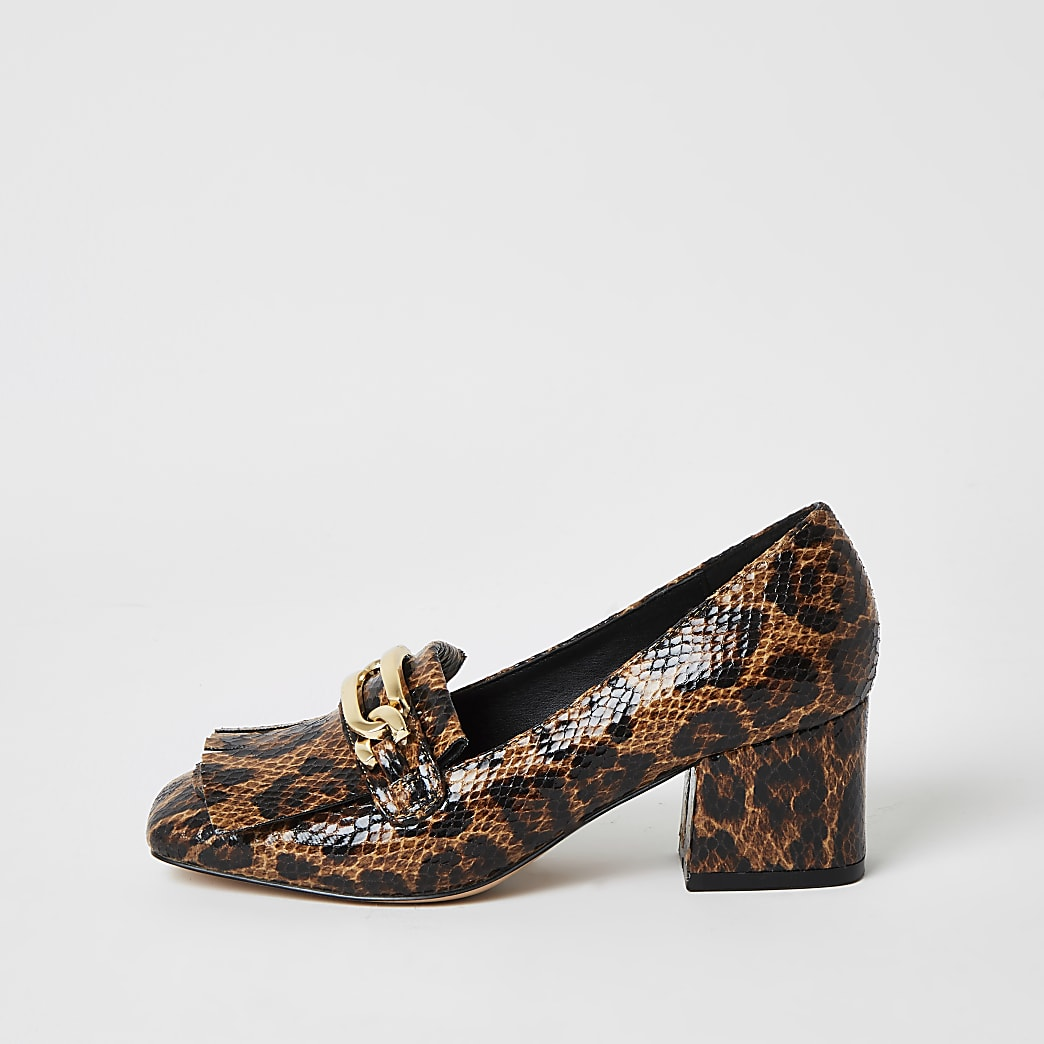 Brown leopard print block heel loafers