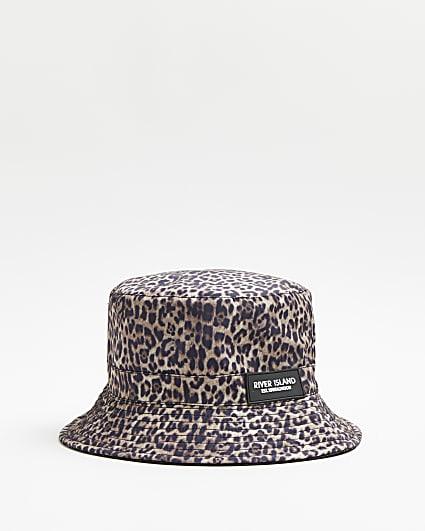 Brown leopard print bucket hat