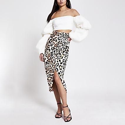 Brown leopard print buckle wrap midi skirt