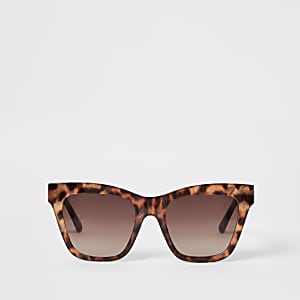 Brown leopard print chain arm sunglasses