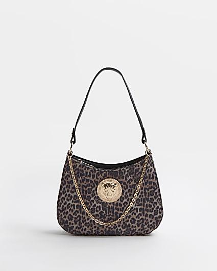 Brown leopard print chain scoop shoulder bag