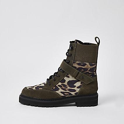 Brown leopard print chunky biker boots