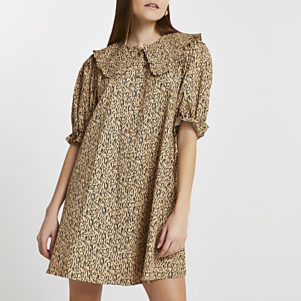 Brown leopard print collar shift mini dress