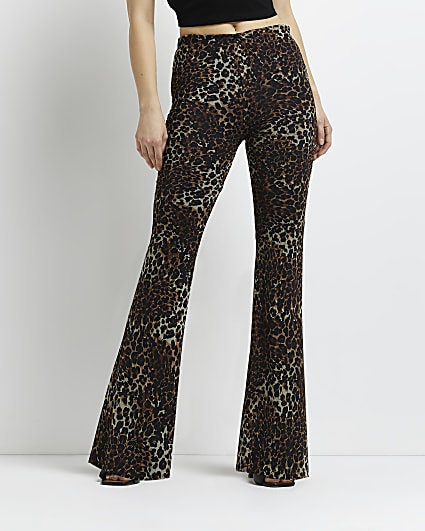 Brown leopard print flared trousers
