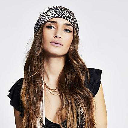 Brown leopard print headscarf