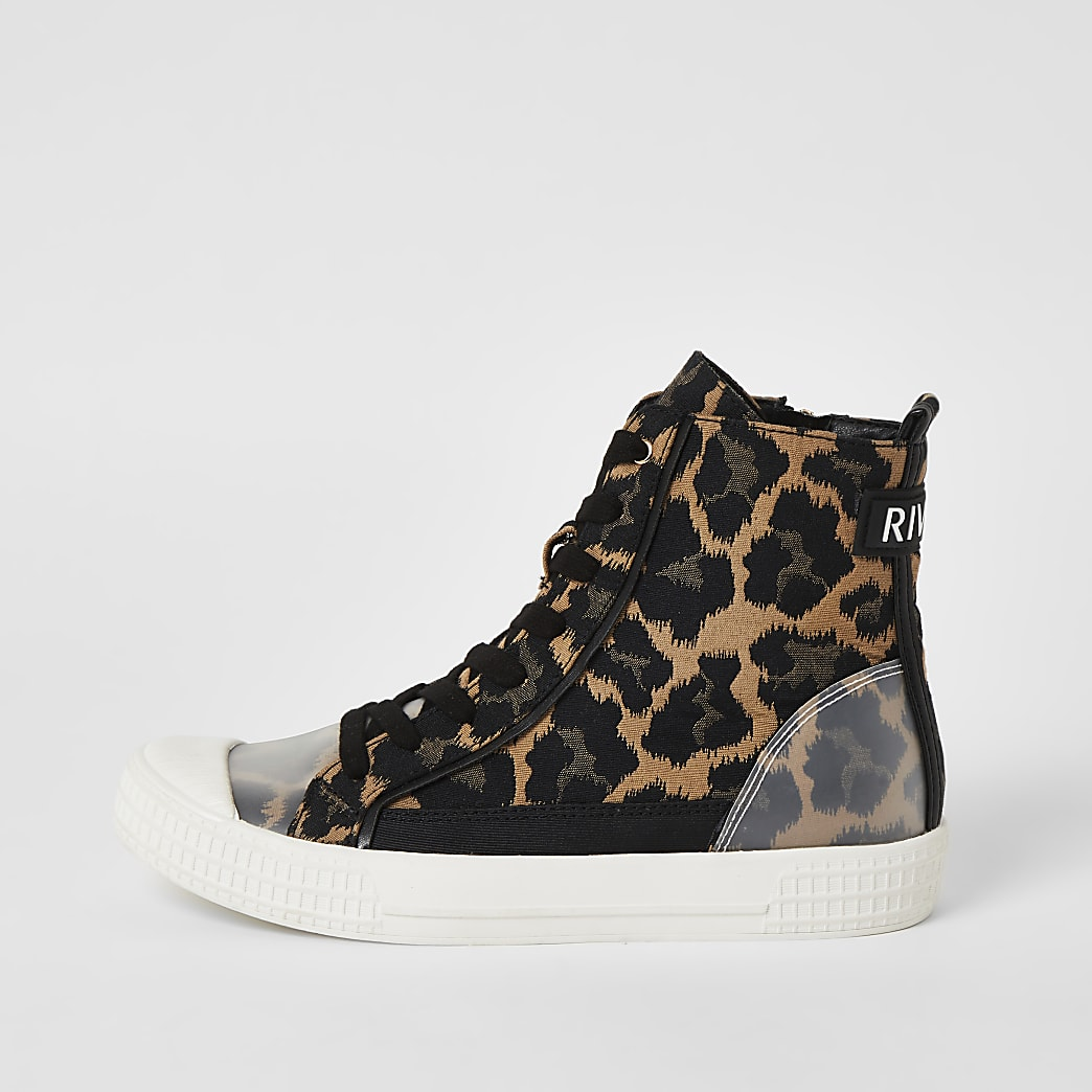 Brown leopard print lace-up high top trainers