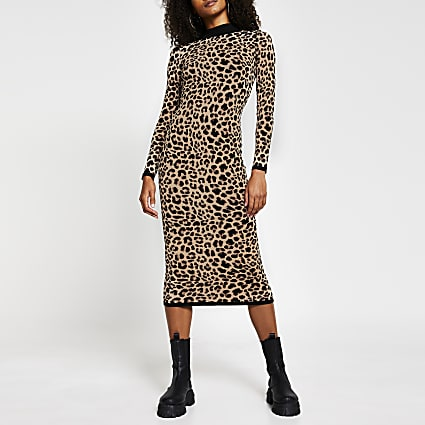 Brown leopard print midi dress