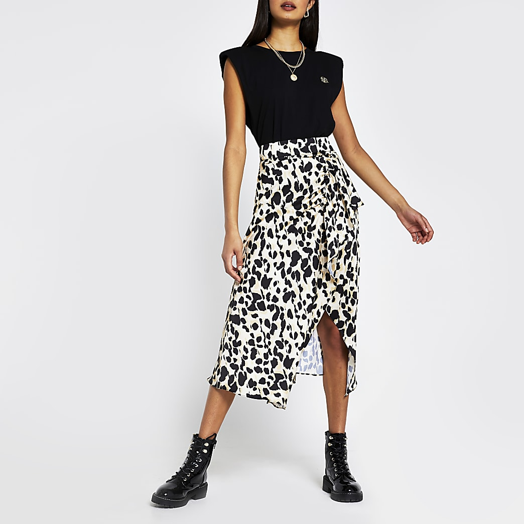 Brown leopard print midi wrap skirt