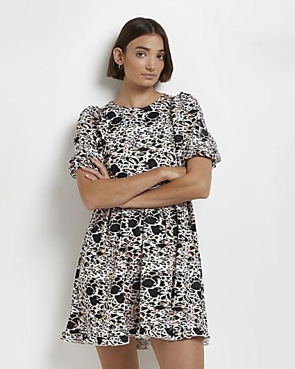 Brown leopard print mini dress