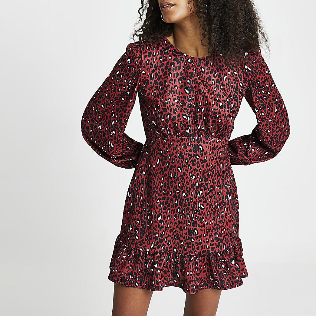Brown leopard print mini frill hem dress