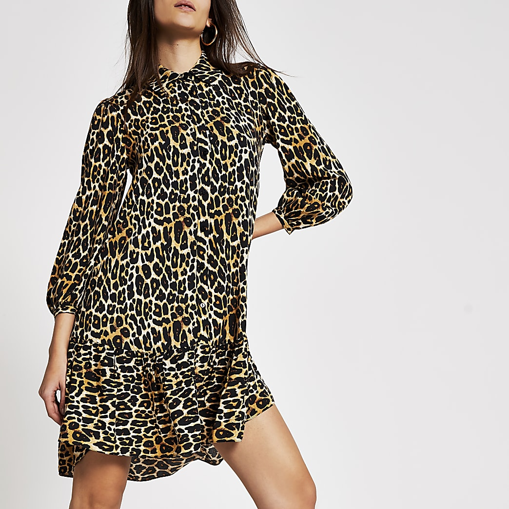 Brown leopard print mini smock shirt dress
