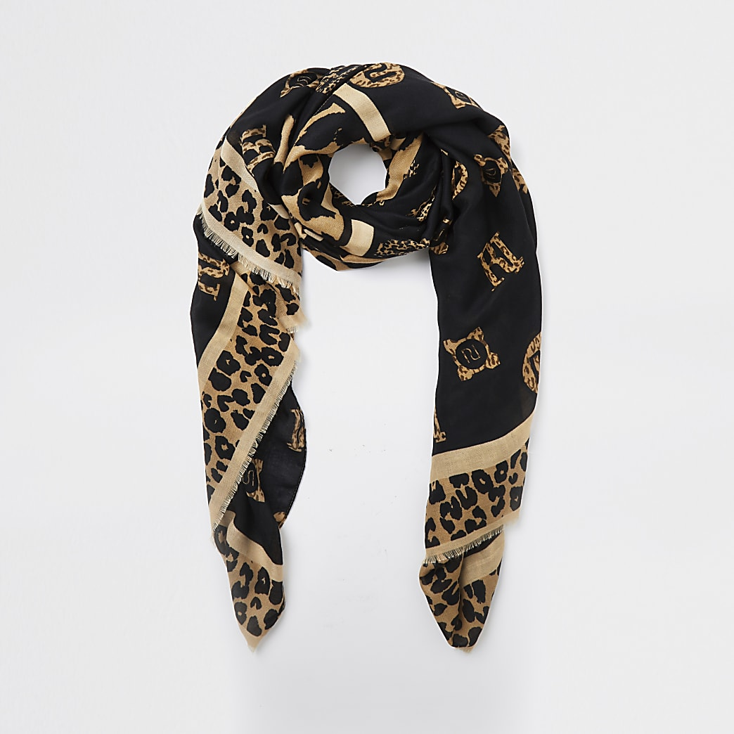 Brown leopard print monogram scarf