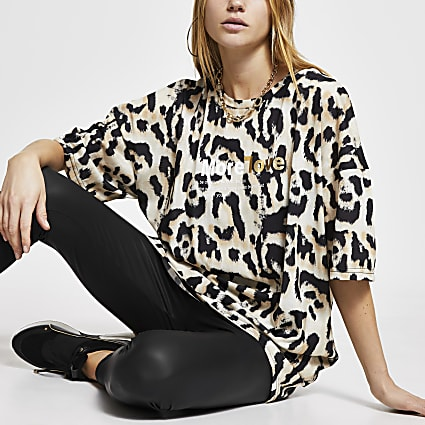 Brown leopard print 'More Love' t-shirt