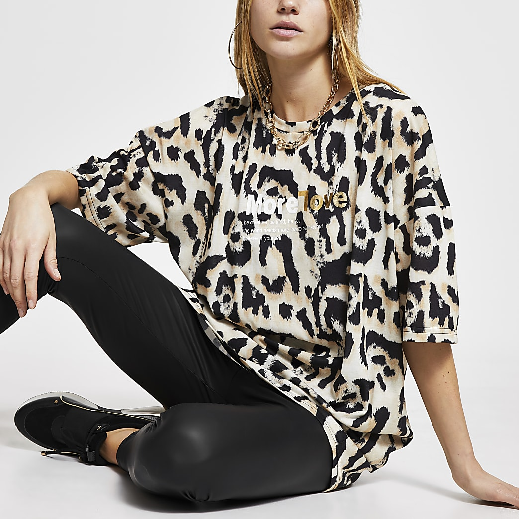 Brown leopard print 'More Love' t-shirt