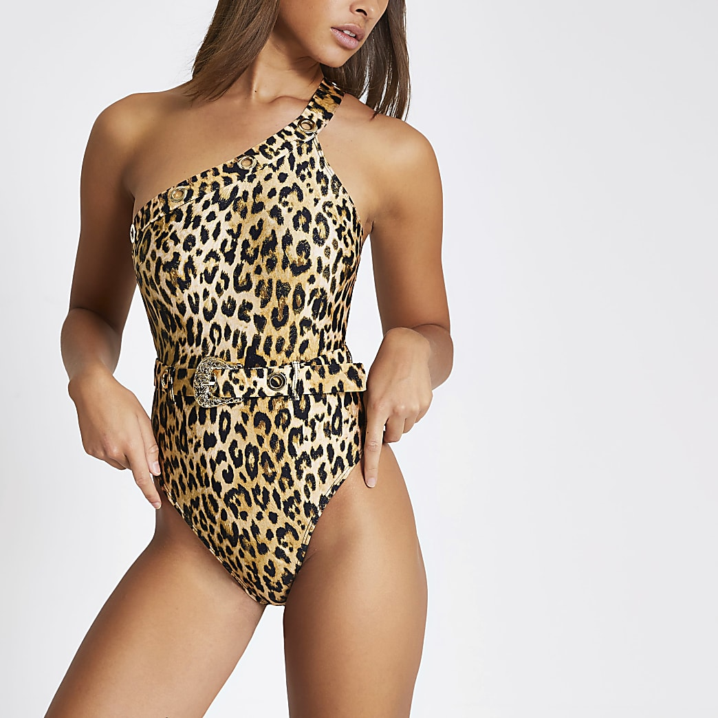 Brown leopard print one shoulder swimsuit