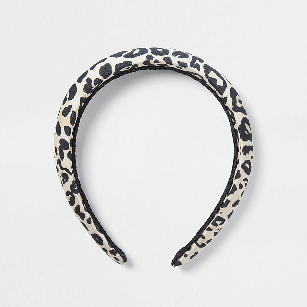 Brown leopard print puff headband