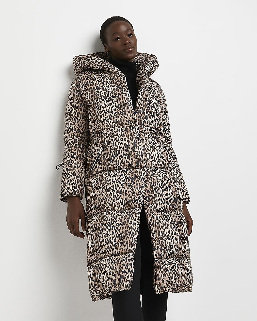 Brown leopard print puffer coat