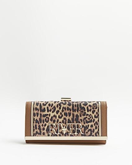 Brown leopard print purse