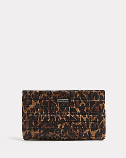 Brown leopard print quilted clutch bag