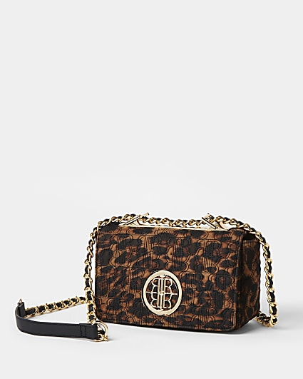 Brown leopard print quilted cross body bag