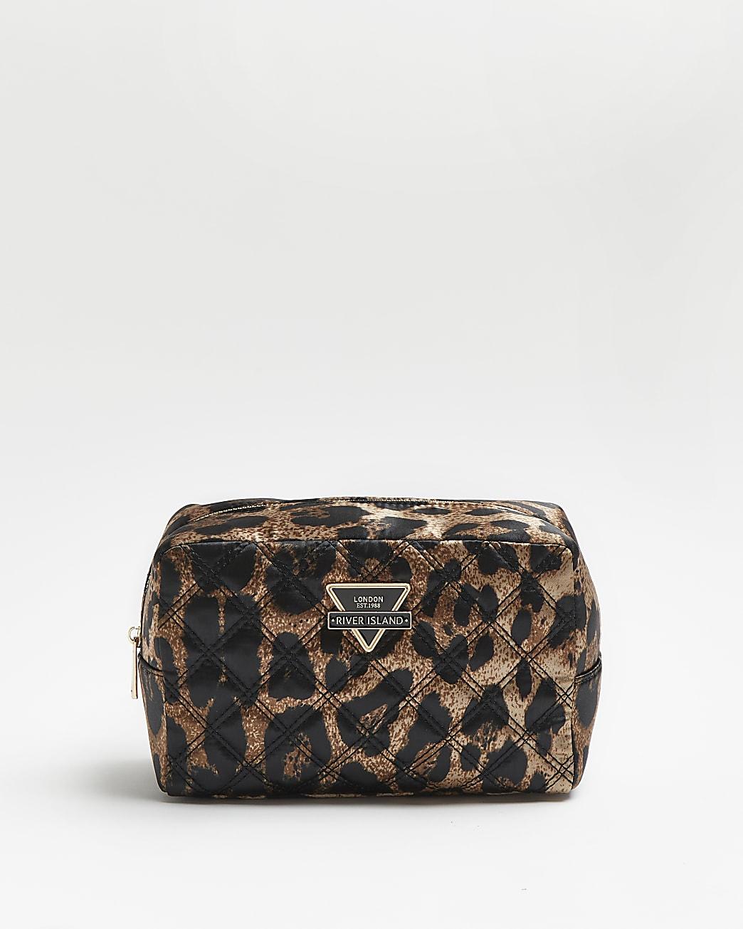 Brown leopard print quilted makeup bag