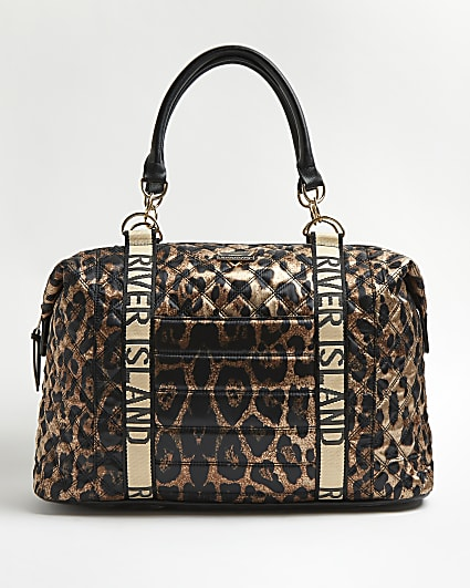 Brown leopard print quilted weekend bag