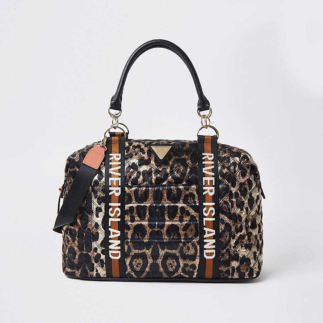 Brown leopard print RI holdall