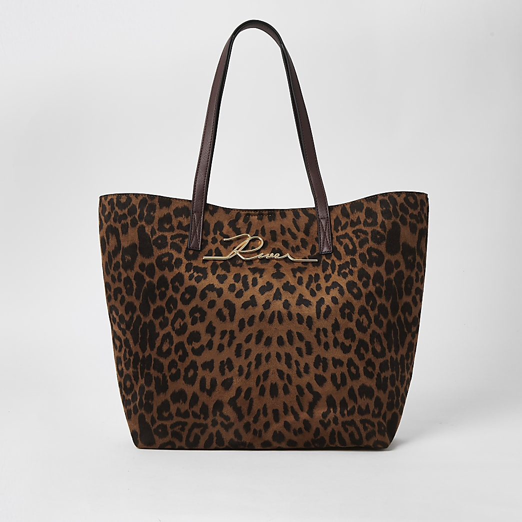 Brown leopard print 'River' shopper tote bag