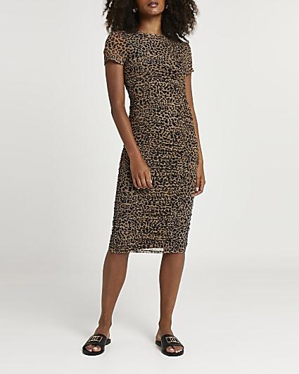 Brown leopard print ruched midi dress