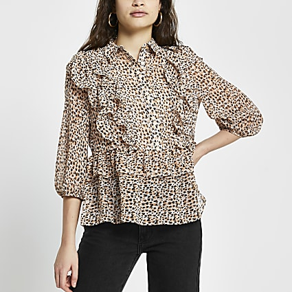 Brown leopard print ruffle shirt top