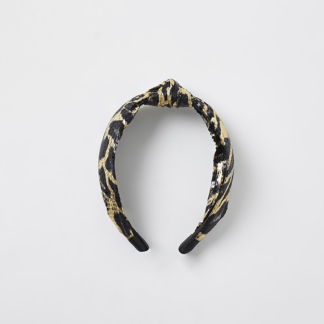 Brown leopard print sequin knot head band