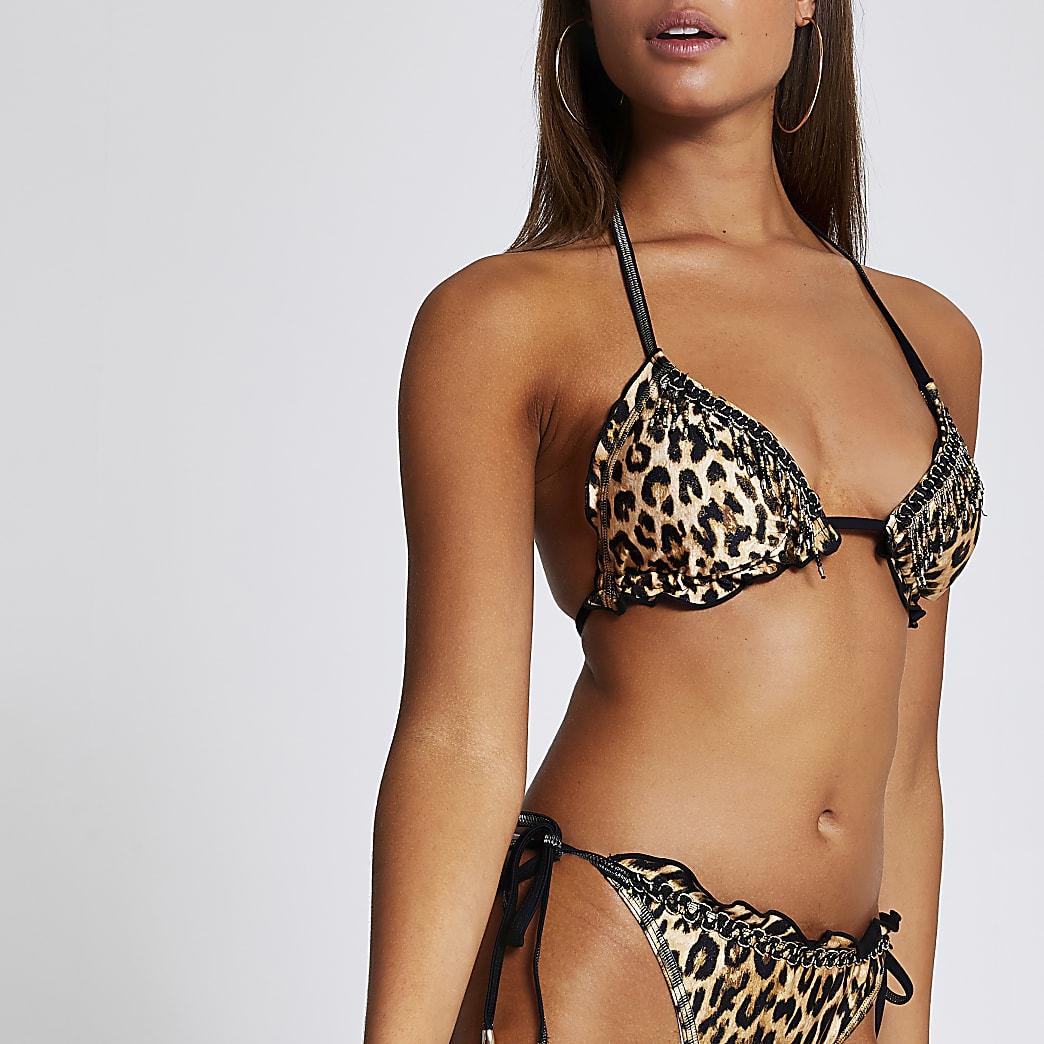Brown leopard print tassel trim bikini top
