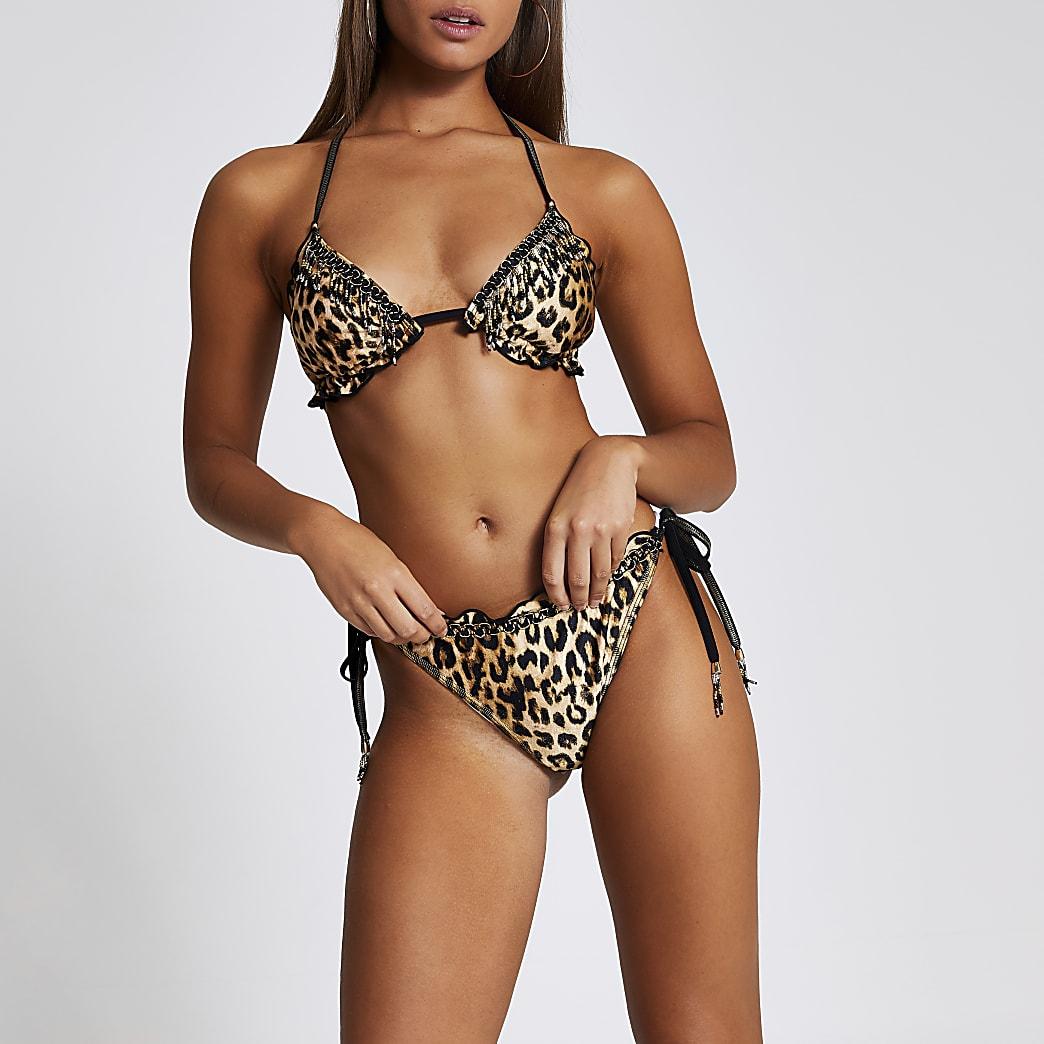 Brown leopard print tie side bikini bottoms