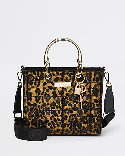 Brown leopard print tote bag