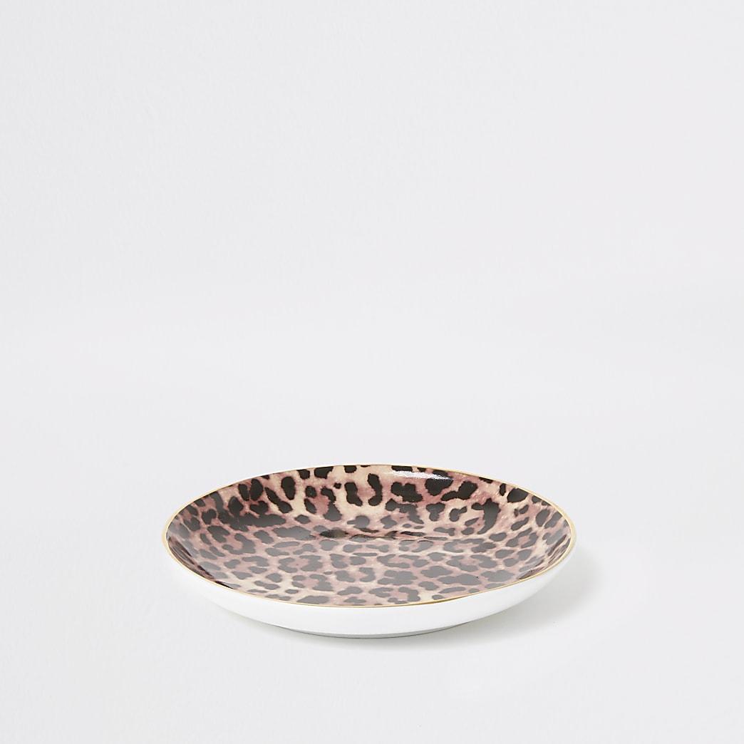 Bruine opbergschaaltje met luipaardprint