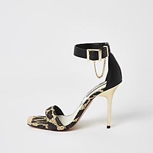 Bruine tweedelige sandalen met hakken en luipaardprint