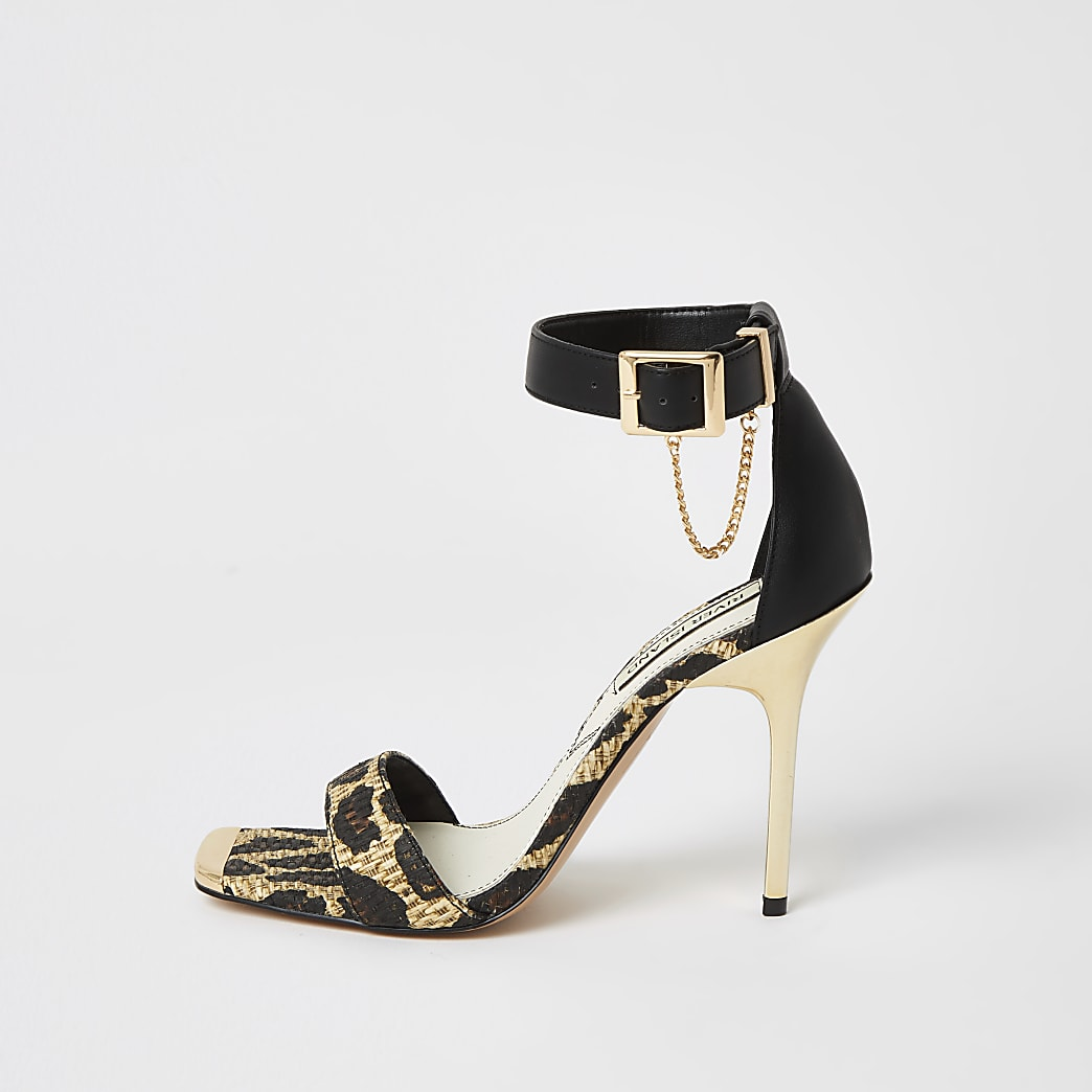 Brown leopard print two part heeled sandals