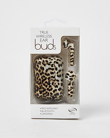 Brown leopard print wireless headphones