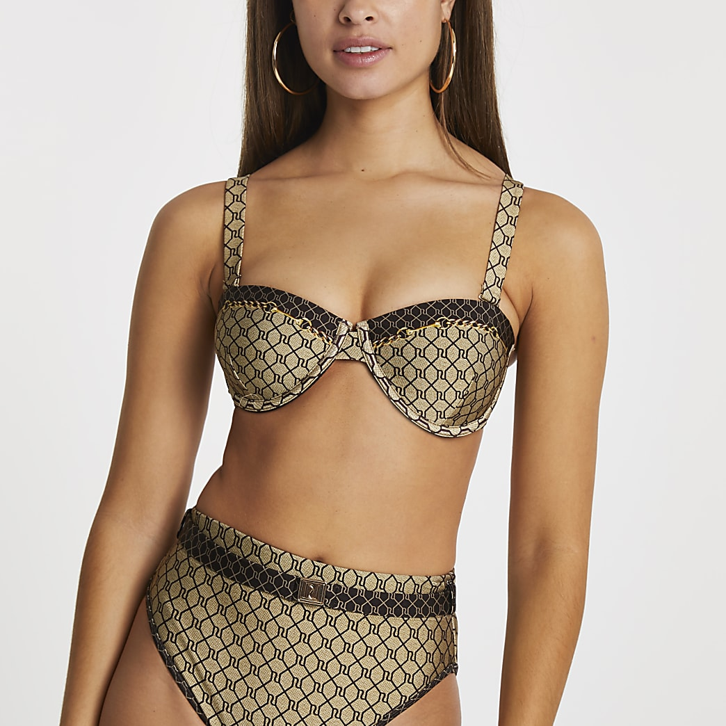 Brown light RI monogram balconette bikini