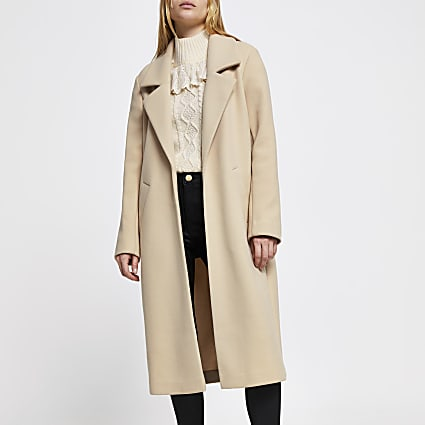 Brown long line relaxed coat