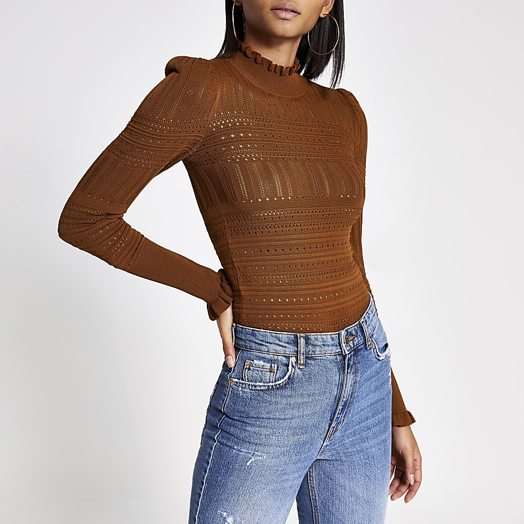 Brown long puff sleeve frill high neck top