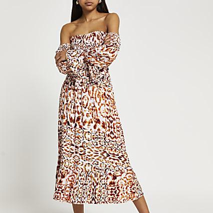Brown long sleeve animal bardot maxi dress