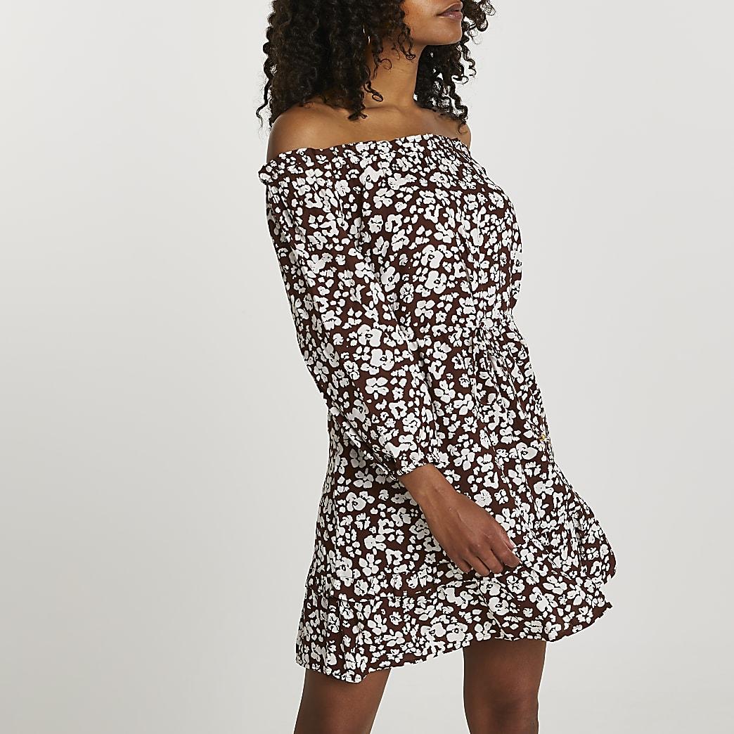 Brown long sleeve bardot mini dress